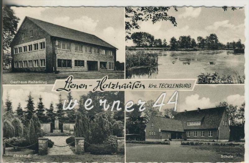 Lienen-Holzhausen v. 1963 Gasthaus Reiterkrug,Partie am Teich,Ehrenmal,Schule  (23324-26)