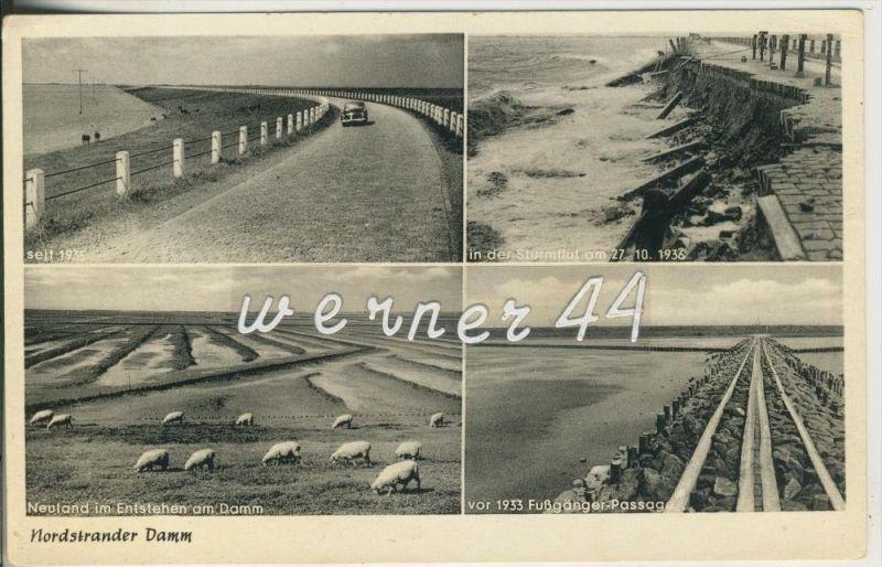 Nordstrander Damm v. 1936 Strasse 1935,Sturmflut 1936,Neuland,vor 1933 Fußgänger-Passage  (23357)