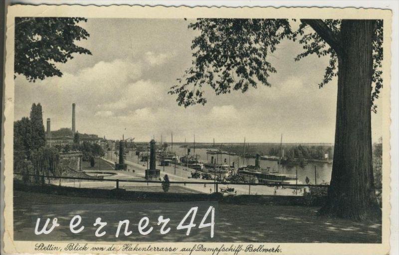 Stettin v. 1935  Blick von der Hakenterrasse auf  Dampfschiff-Bollwerk  (46730)