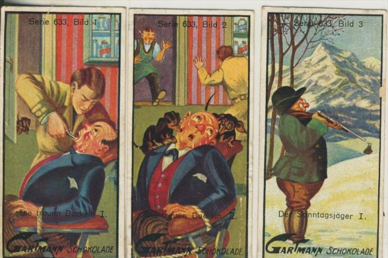 Altona v. 1923  C.H.L.Gartmann - Kakao und Schokoladen Fabrik -- Serie 633 Humor des Lebens 1-3 (46863)