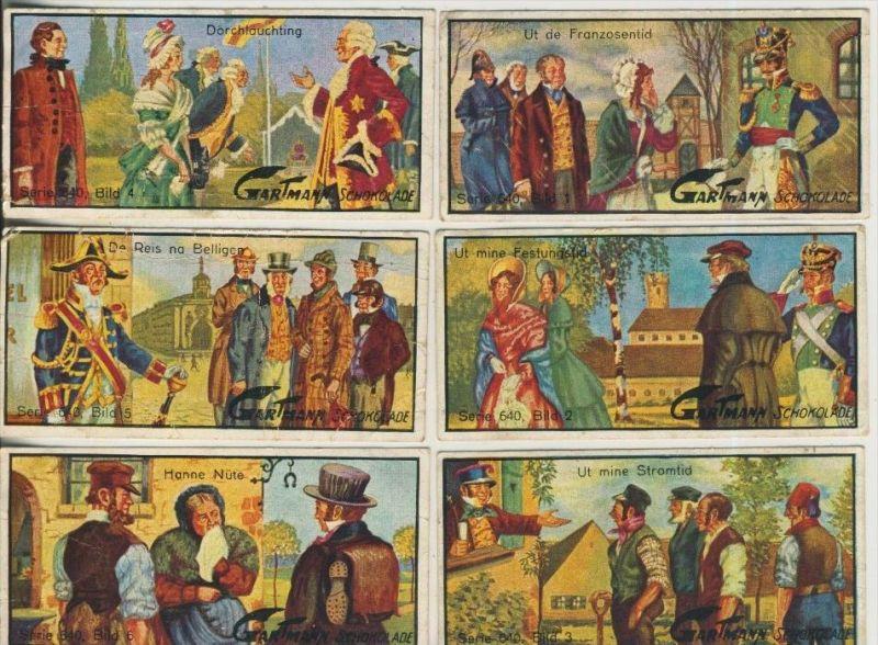 Altona v. 1923  C.H.L.Gartmann - Kakao und Schokoladen Fabrik -- Serie 640Fritz Reutersch Gestalten 1-6 komplett (46865)