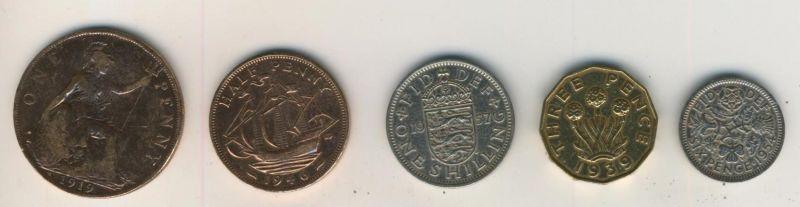 Grossbritannien v. 1919,1957,1939,1946,1954 The Royal Majesty Collection  (Münzen K3)