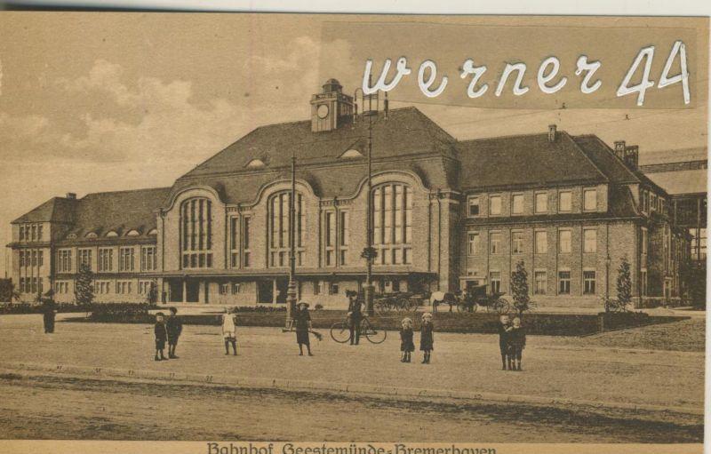Geestemünde - Bremerhaven v. 1914  Der Bahnhof mit Kinder (49908)