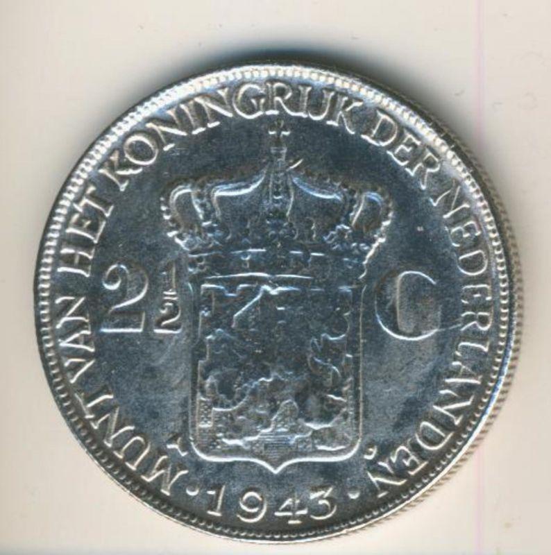 2 1/2 gulden 1943 Koninkrijk der Nederlanden 1943, geslagen te Denver  (50199-20)