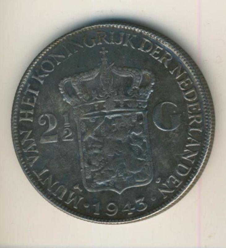 2 1/2 Gulden mit Patina v.1943 Koninkrijk der Nederlanden 1943, geslagen te Denver  (50199-21)