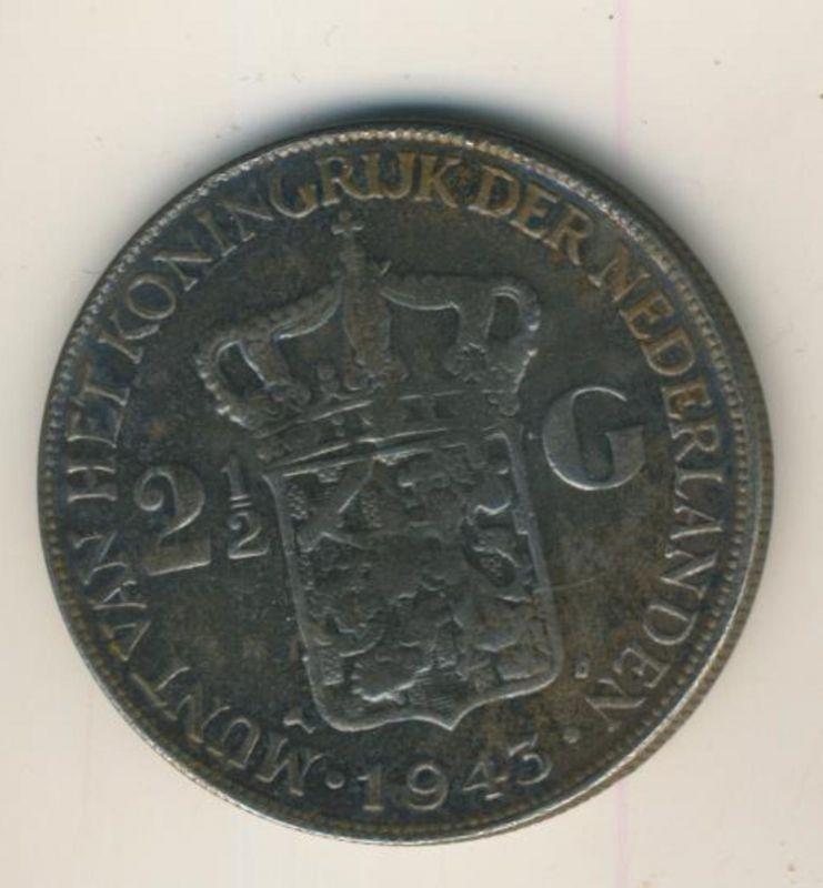 2 1/2 Gulden mit Patina v.1943 Koninkrijk der Nederlanden 1943, geslagen te Denver  (50199-22)