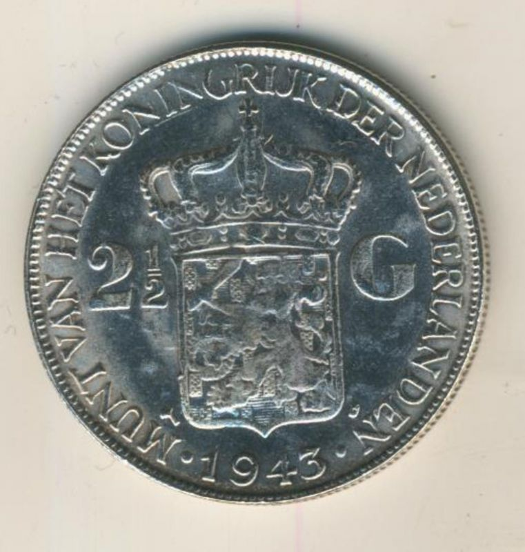 2 1/2 Gulden v.1943 Koninkrijk der Nederlanden 1943, geslagen te Denver  (50199-23)