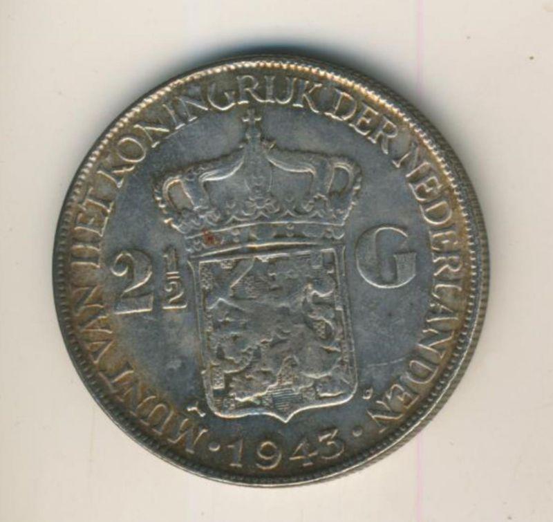 2 1/2 Gulden mit Patina v.1943 Koninkrijk der Nederlanden 1943, geslagen te Denver  (50199-27)