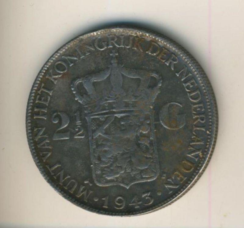 2 1/2 Gulden mit Patina v.1943 Koninkrijk der Nederlanden 1943, geslagen te Denver  (50199-28)