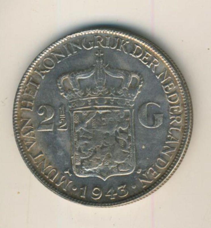 2 1/2 Gulden mit Patina v.1943 Koninkrijk der Nederlanden 1943, geslagen te Denver  (50199-29)