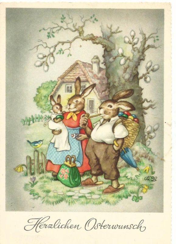 Herzlichen Osterwunsch v. 1959  Die Hasen-Familie  (50871)