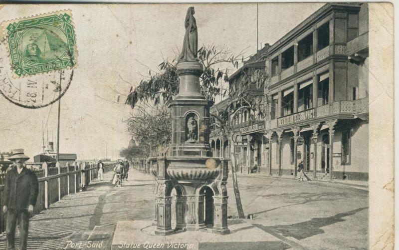 Port Said v. 1910  Staue Queen Victoria mit The Eastern Telegraphce und Thoscook & Son  (50960)
