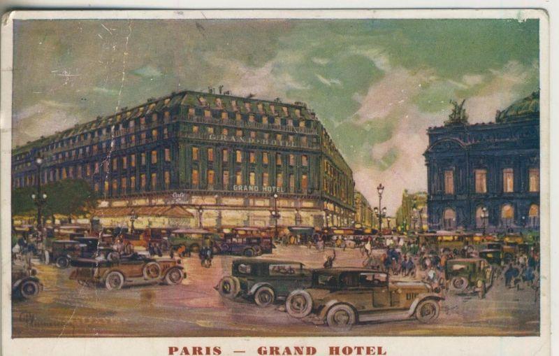 Paris v. 1908  Grand Hotel mit viele alte PKW`s  (50962)
