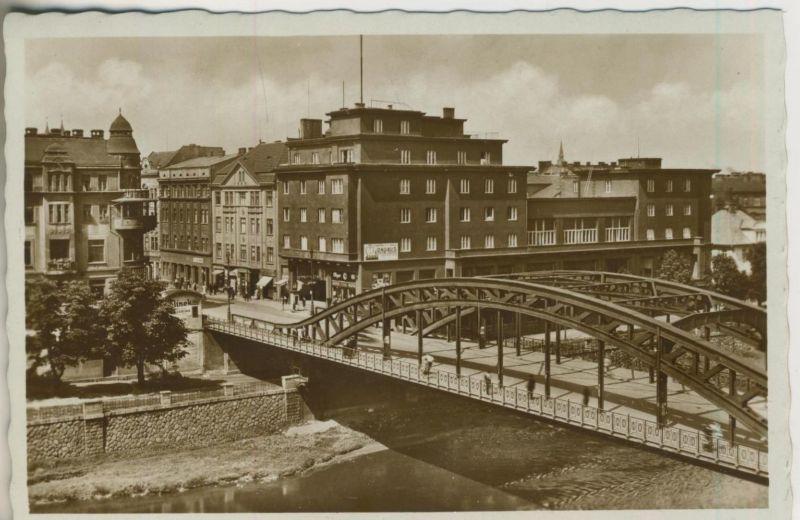 Mähr. Ostrau v. 1938  Die Reichsbrücke mit Hotel`s  (50963)