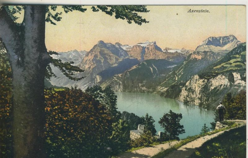 Axenstein v. 1911  Blick auf Vierwaldstättersee und Urirathstock  (50986)