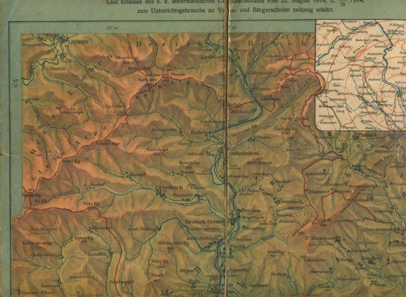 Graz v. 1914  Karte der Umgebung von Graz  (51444)