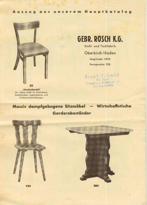 München v. 1938  Gebr. Rösch K.G.Müllerstr. 41 -- Massiv dampfgebogene Sitzmöbel  (51447)