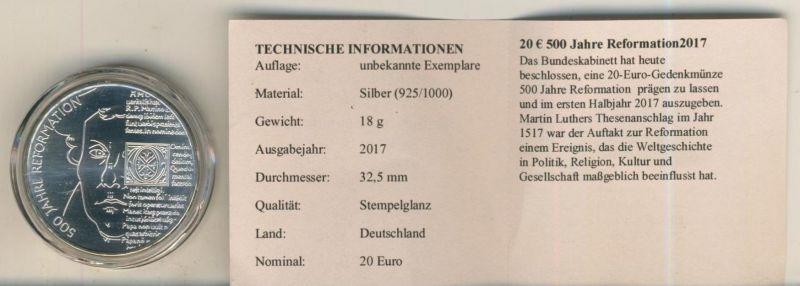 20 Euro Silbermünze 2006 bfr  500 Jahre Reformation Martin Luther 2017  (51696)