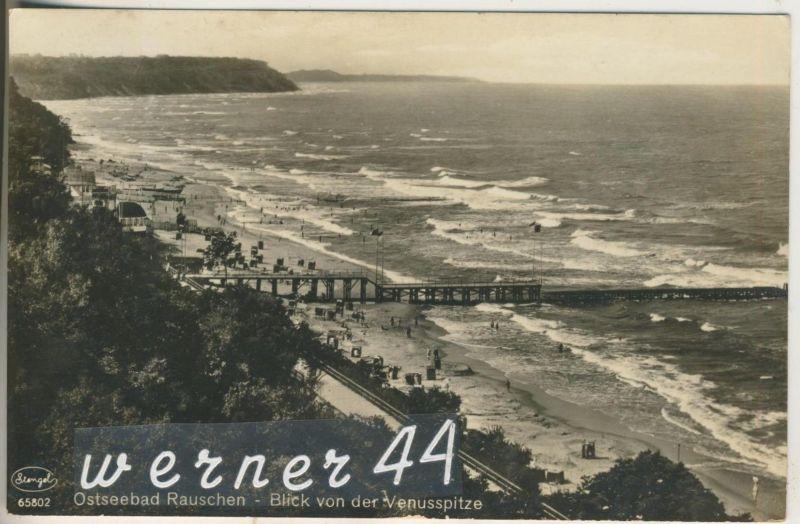 Rauschen v.1932  Blick von der Venuspitze -- Strand & Seesteg (13286)