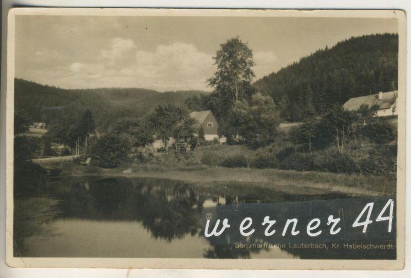 Lauterbach, Kr. Habelschwerdt v.1931 Dorfansicht mit Fluß  (12606)