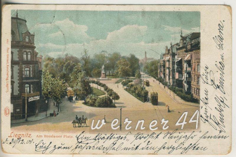 Liegnitz v.1900   Am Breslauer Platz mit Konditorei und Cafe Schubert  (12607)