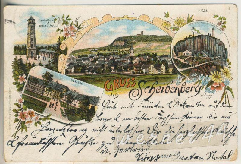 Gruss aus Scheibenberg v.1896 Carola Turm,Unterkunftshaus,Dorfansicht,Orgelpfeifen',Marktplatz  (12794)