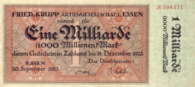 Städte Großgeldscheine - Banknoten während der Inflationszeit v. 1923  1 Milliarde Mark -