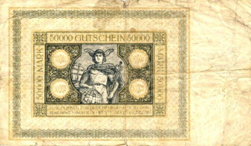 Städte Großgeldscheine - Banknoten während der Inflationszeit v. 1923  50000 Mark -