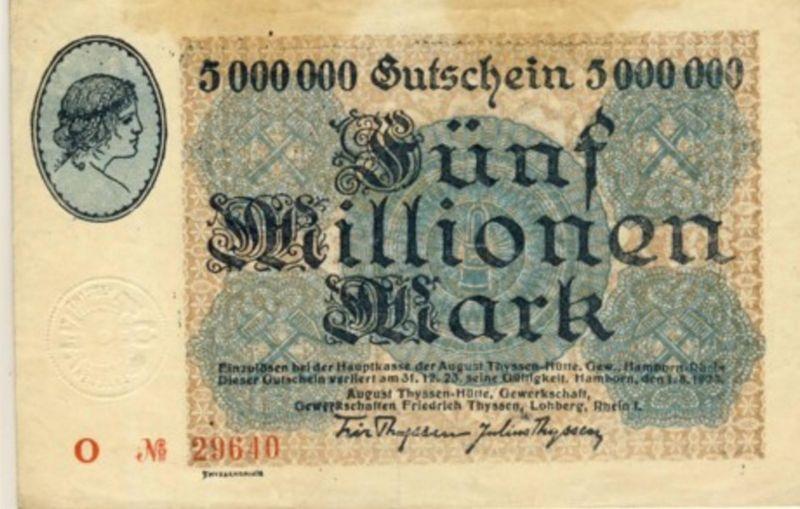 Städte Großgeldscheine - Banknoten während der Inflationszeit v. 1923  5 Millonen Mark -