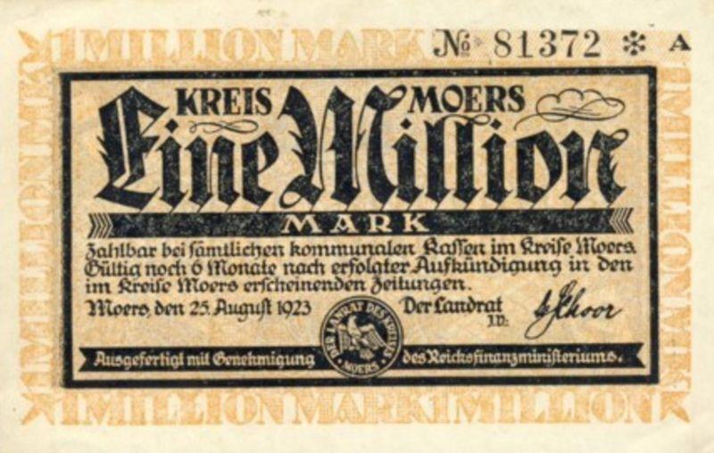 Städte Großgeldscheine - Banknoten während der Inflationszeit v. 1923  1 Million Mark -