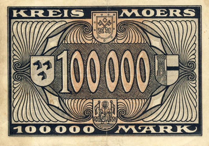 Städte Großgeldscheine - Banknoten während der Inflationszeit v. 1923  100000 Mark -