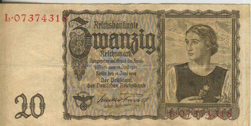 Zwanzig Reichsmark v. 15 Juni 1939    (52847)