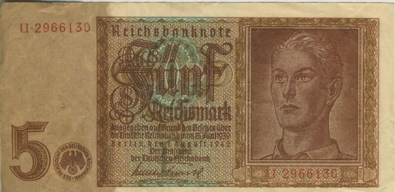 Banknoten der Deutschen Reichsbank von 1924-1945 --- 5 Reichsmark   (52848)
