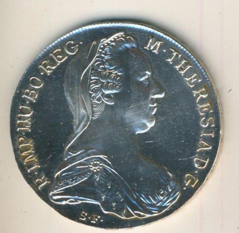 Maria Theresia Thaler , Silbermünze von 1780 27,96 Gramm