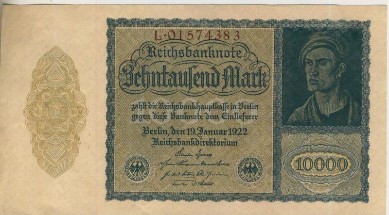 10.000 Mark Reichsbanknote vom 19.1.1922  (53193)