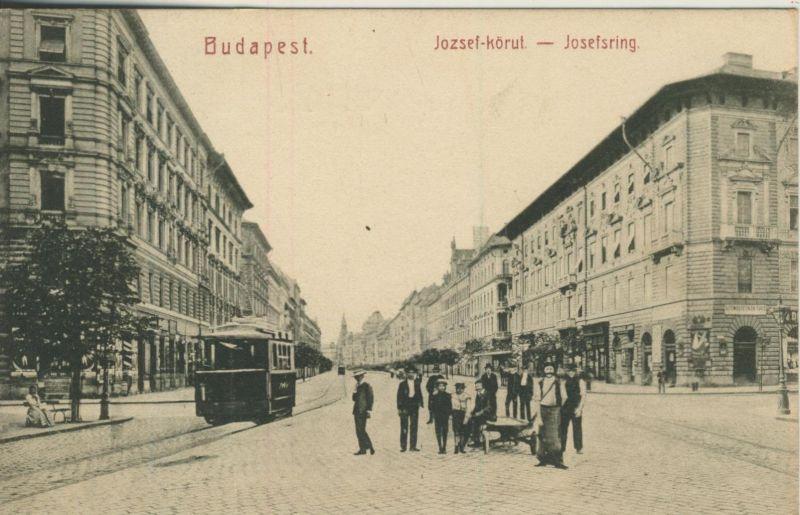 Budapest v. 1908  Josefsring und Gasthof Uniom Paris und Strassenbahn  (53211)