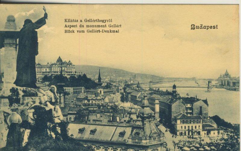 Budapest v. 1908  Blick vom Gellert-Denkmal zur Stadt hin  (53212)