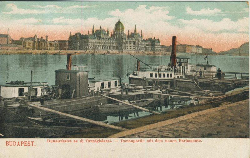 Budapest v. 1904  Donaupartie,Schiffsanlegestelle,Parlament  (53214)