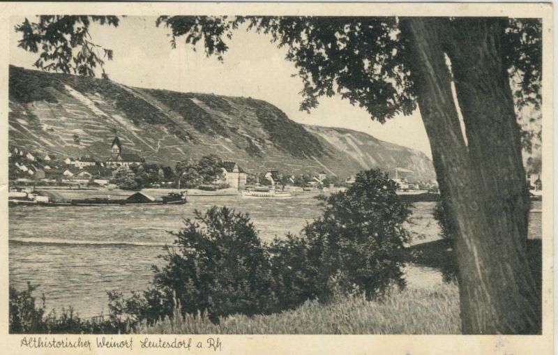 Leutesdorf v. 1955  Dorf-Ansicht mit den Rhein  (53407)
