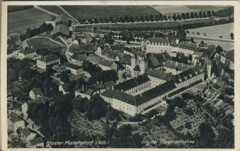 Mallersdorf v. 1935  Fliegeraufnahme Kloster Mallersdorf mit Dorfansicht  (53999-14)