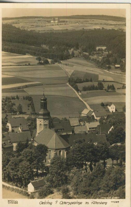 Geising v. 1932  Dorfansicht mit Wiesen und Felder  (53999-20)