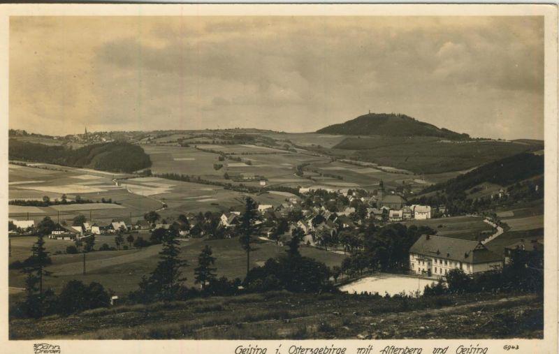 Geising v. 1932  Dorfansicht mit Schützenhaus  (53999-23)