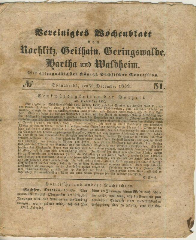 Vereinigtes Wochenblatt v. 21.12.1839 Rochlitz,Geithain,Geringswalde,Wartha,Waldheim (54980)
