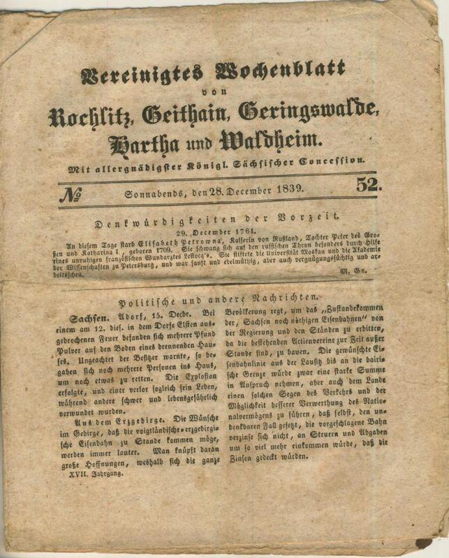 Vereinigtes Wochenblatt v. 28.12.1839 Rochlitz,Geithain,Geringswalde,Wartha,Waldheim (54981)