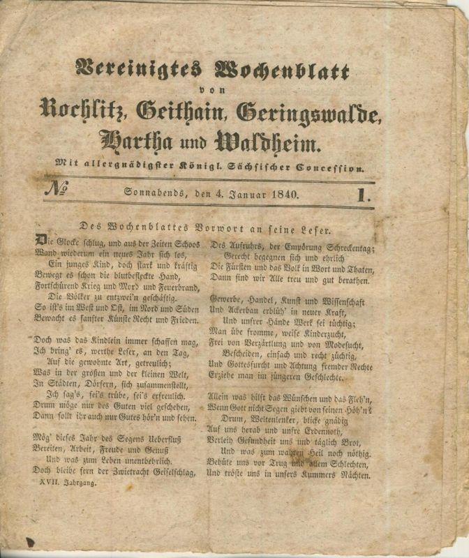 Vereinigtes Wochenblatt v. 4.1.1840 Rochlitz,Geithain,Geringswalde,Wartha,Waldheim (54981)