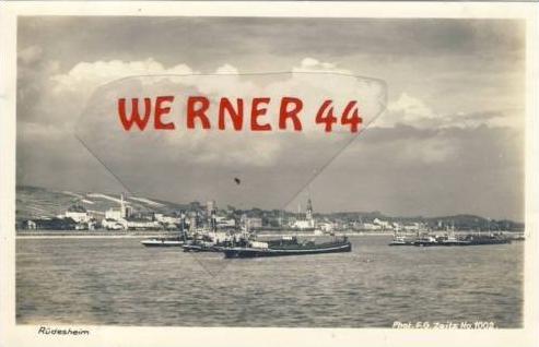 Rüdesheim v. 1943  Teil-Stadt-Ansicht mit Schiffe  (7167)