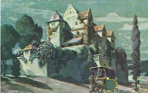 Kutsche in der Nacht mit Villa v.1924 (17646)