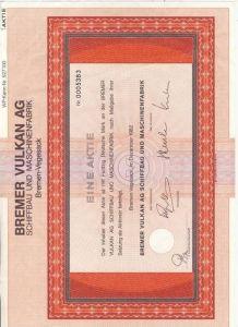 Aktie -- Bremer Vulkan v. 1982 - 50 Mark & Gewinnteilscheine  (54056)