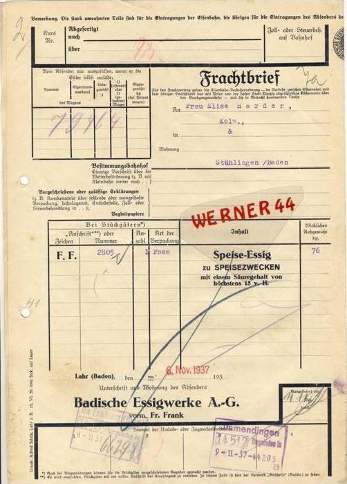 Freiburg v. 1937  Badische Essigwerke A-G, --- FRACHTBRIEF