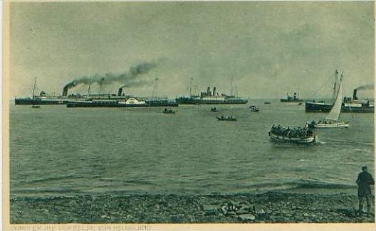 Helgoland v.1920 Dampfer auf der Reede (19198) 0